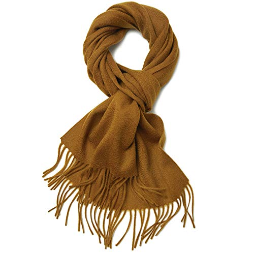 CaoQuanBaiHuoDian Soft Lady Scarf Pure Color Scarf Ladies Shawl Thin Section Autumn and Winter All-match Ladies Scarf (Color : Golden camel, Size : 180x30cm)