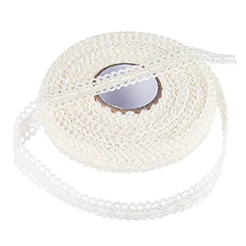 Naler Spitzenband Selbstklebend Weiße Borte Baumwolle Dekoband Vintage Spitzenborte Häkel-Borte für Basteln Nähen Hochzeit Deko Scrapbooking Geschenkbox - 8 Meter
