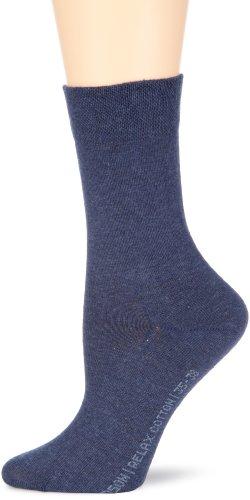 Hudson RELAX COTTON Damen Socken, Baumwollsocken Damen ohne Gummib&, Frauen Socken mit verstärkter Sohle (hautfre&lich, viele Farben) Menge: 1 Paar, Blau (Marine-mel. 0387), Gr. 39-42