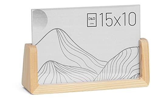 D&D Living Bilderrahmen 15x10 cm aus Holz - Tisch Fotorahmen zum Aufstellen   natur   hoch & quer