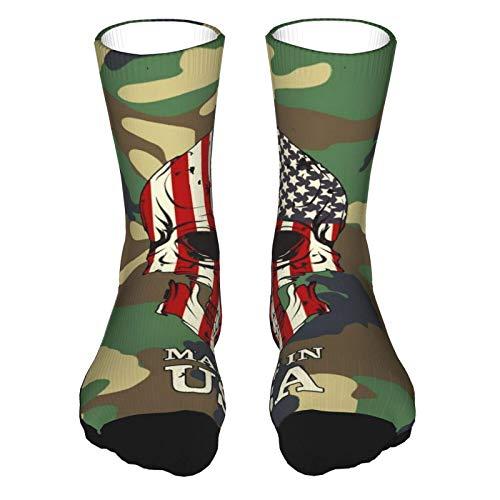 Calcetines deportivos para mujer, color verde militar, con patrón de camuflaje, para correr