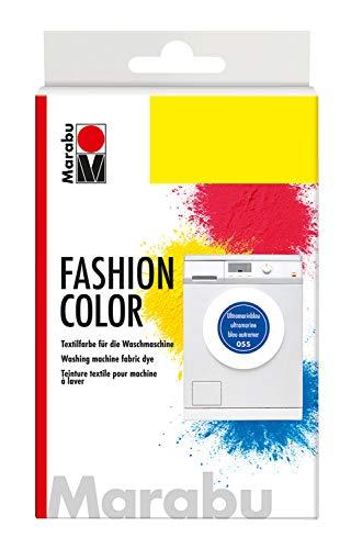 Marabu 17400023055 - Fashion Color ultramarinblau dunkel, Textilfarbe zum Färben in der Waschmaschine, kochecht, für Baumwolle, Leinen und Mischgewebe, 30 g Farbstoff und 60 g Reaktionsmittel