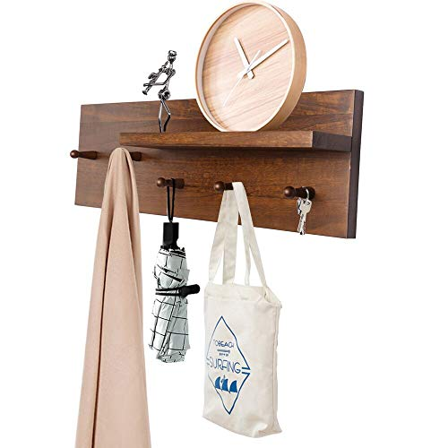 OROPY Entryway Coat Hooks with Storage Shelf, Solid Wood Wall Mounted Clothes Rack with 5 Pegs and Display Shelf for Hallway, Bathroom, Living Room, Bedroom, Kitchen, 23.6