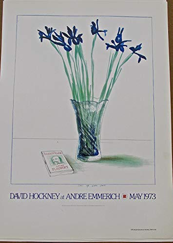 David Hockney Poster Reprint of Ad for Andre Emmerich Show in 1973 16 x11 Offset Lithograph