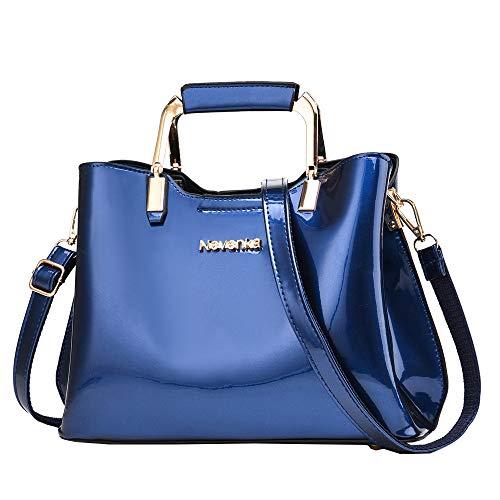Nevenka Womens Fashion PU Leather Top Handle, Shoulder Handbag - Blue