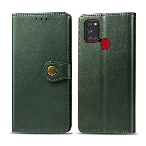 simple y practico For Samsung Galaxy A21S retro sólido color de piel caja del teléfono de hebilla con correa y marco de la foto y la tarjeta de ranura y monedero y soporte de funciones, todos los boto