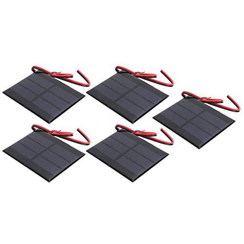 Kuuleyn 5Pcs DC 0.65W 1.5V Mini módulos de batería Solar, Mini Panel de celda Solar, Mini módulo de Placa de celda de batería de Panel Solar para Carga Solar (Cable de 30 cm 60 x 80 x 3 mm)