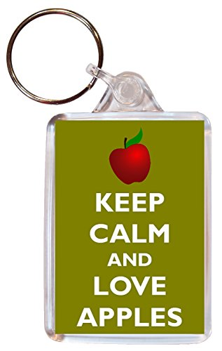 Keep Calm and Love Apples - Double Sided Large Keyring Key Ring Fob Chain Name Tag Souvenir/Gift/Present