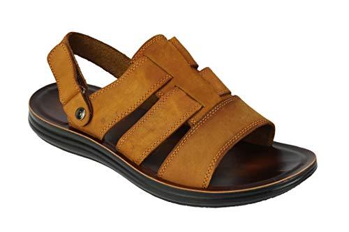 Sandalias de Piel para Hombre, con Puntera Abierta, Talla Grande, para Verano, con Correa y Cierre en la Parte Trasera, Color Marrón, Talla 48 EU