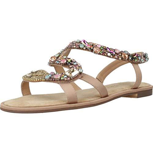 Alma en Pena Damen V20932 Beigefarbene Textil Sandalette mit Schlangenmotiv Größe 42 EU Mehrfarbig (Beige Schlange Bunt)