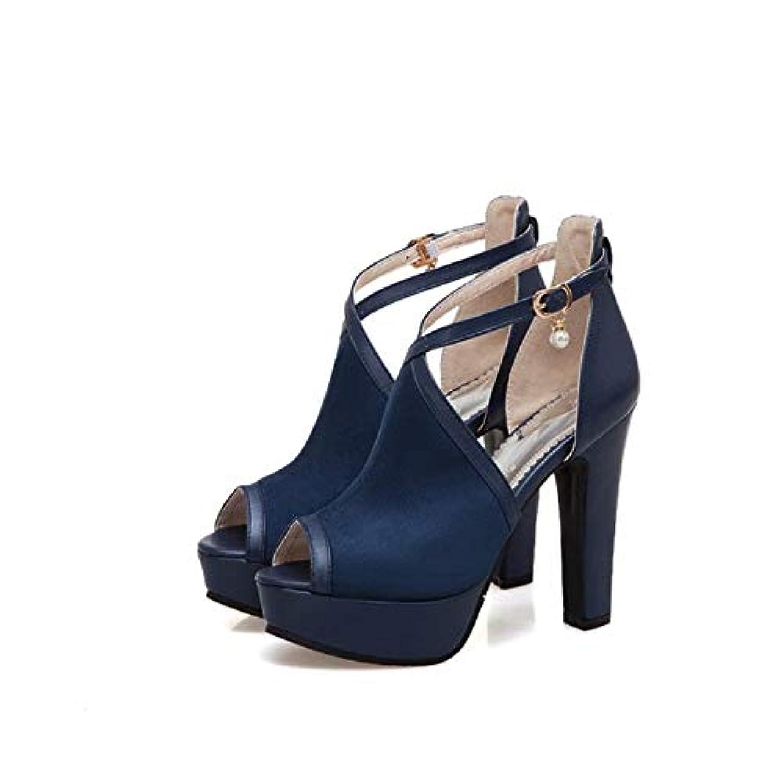 [AHZHDXZM] レディーススティレットファッションビッグサイズ34-50サンダル夏結婚式女性靴レディース??12cmパーティーダンス女性パンプス8ブルーレディースハイヒールヒール