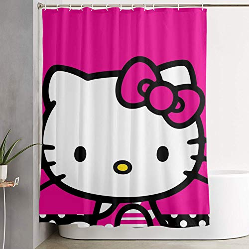 WSXEDC Shower Curtain Hello Kitty Pink Waterproof Curtain 60 X 72 Inches