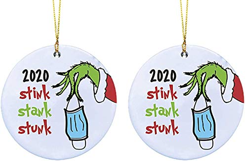 GENMAI 2020 The Grinches Social Distancing Christmas Holiday Hand Ornaments Personalize Grinch, Creative Decorating Kit Grinch Hand Christmas Ornament for Family (2 Pcs)