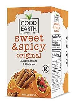Good Earth Herbal & Black Tea Sweet & Spicy 18 Count Tea Bags  Pack of 6   Packaging May Vary