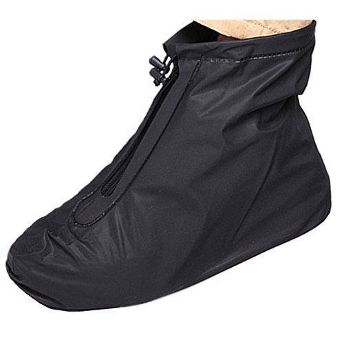 Waterproof Shoe Cover, Reusable Men's Waterproof Cycling Hiking Rain Shoe Covers Lightweight Anti-Slip Overshoes (L, Black-Short boot)