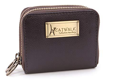 Catwalk Collection - Cuero de Lujo para Mujer - Protección RFID - Billetera Cartera de Uso Diario - con Caja de Regalo - 12 Tarjeta de crédito - Isla - Marrone