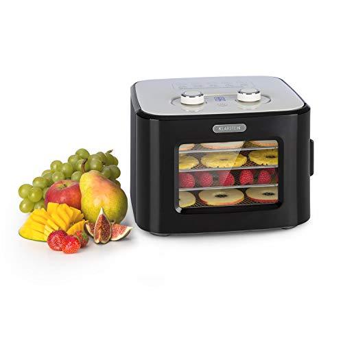 Klarstein Tutti Frutti Dörrautomat, Leistung: 400 Watt, Temperatur: 35 - 80 °C, 4 Edelstahl-Ablagegitter, Volumen: 8 Liter, Bedienfeld mit LED-Display, 3D-Zirkulation, 55 dB max., schwarz