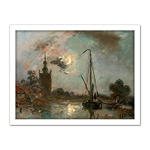 Jongkind Overschie Moonlight Boot Rivier Schilderij Kunstwerk Omlijst Muur Art Print 18X24 Inch