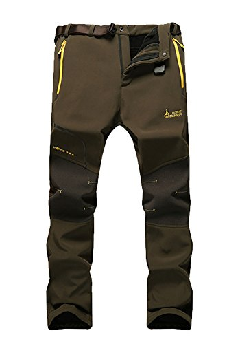 MorryOddy Men's Outdoor Waterproof Softshell Fleece Snow Pants Army Green 34