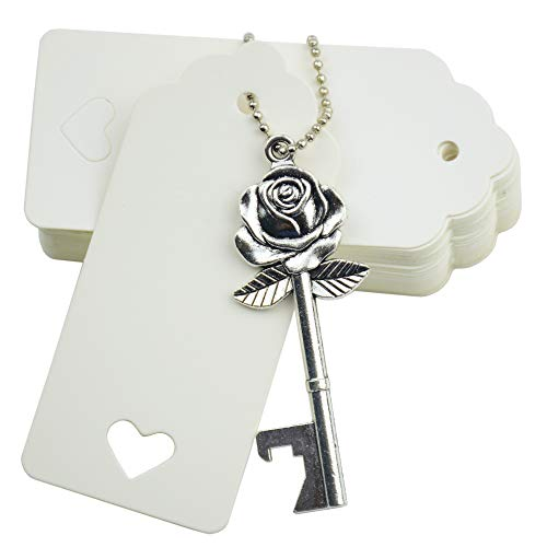 Makhry 52pcs Rose Flower Shape Vintage Key Bottle Openers Wedding Favors Party Favor for Guest Souvenir Gift Set with Escort Thank You Tags and Keychain (Antique Silver)