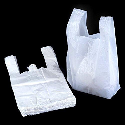 100 x Strong Medium White Plastic Vest Carrier Bags 10x15x18' *FREE P&P!*