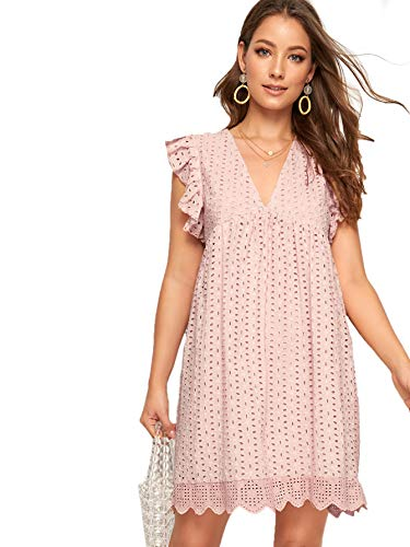 Romwe Women's Solid Eyelet Embroidery Scallop Hem Cute Babydoll V Neck Ruffle Sleeveless A Line Short Dresses Pink_No Stretch Small