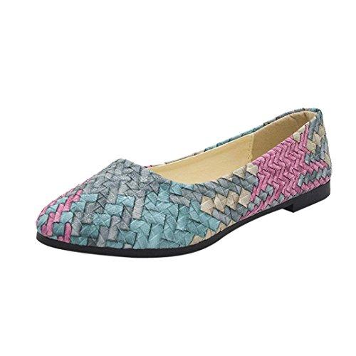 Ansenesna Sandalen Damen Sommer Flach Multicolor Elegant Sommerschuhe Geschlossen Comfort Outdoor Schuhe Blau Grün Rot Größe 35-40 (37, Grün)