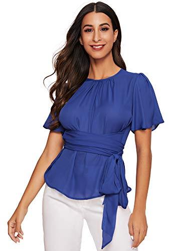 Romwe Women's Self Tie Wist Short Sleeve Casual Chiffon Blouse Tops Blue#1 Large