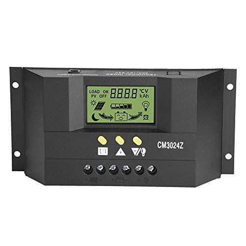 Akozon Solarladeregler, 12V 24V 30A LCD Anzeige Solarregler Zweikanaliges Automatisches Kfz System PWM Solar Laderegler mit USB Port