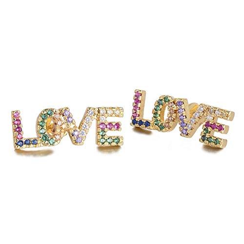 FUKAI Pendientes de circonita con letra de amor para mujer, joyería de boda, pendientes de cristal (color: amor)