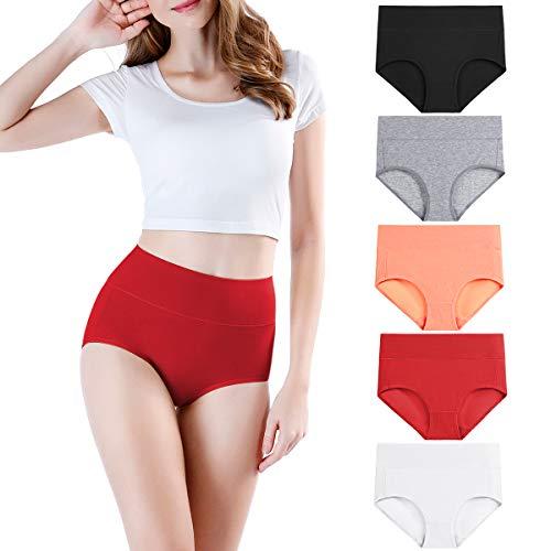 wirarpa Damen Unterhosen Baumwolle Unterwäsche Hohe Taille Slips Hoher Taillenslip für Frauen Mehrpack Größe XL
