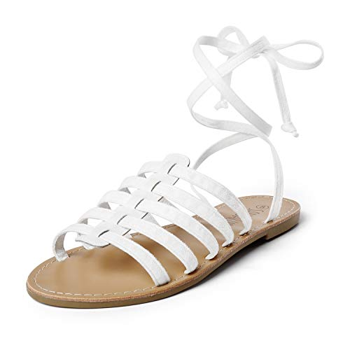 SANDALUP Gladiator Sandal Lace up Flat Sandals for Women White 09