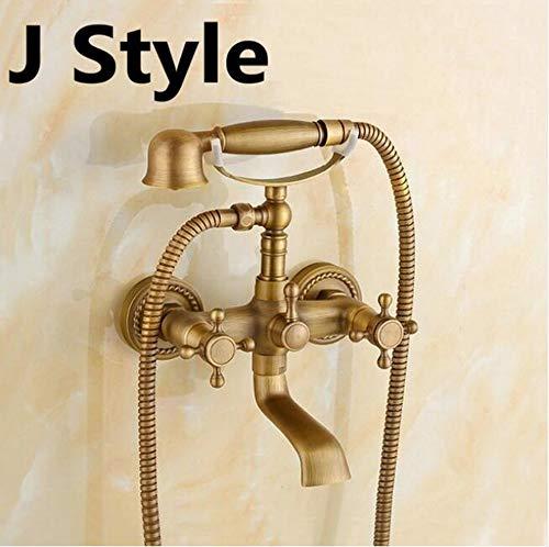 Rubinetto da bagno in ottone spazzolato antico Rubinetto da parete per lavabo da bagno Miscelatore da murare con doccetta Soffione per vasca e doccia,Jstyle