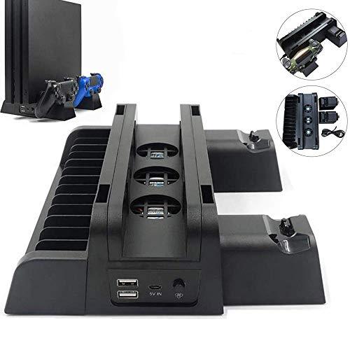 ICQUANZX Convient pour PS4 / Slim/Pro Base de Refroidissement Multifonction Trois en Un Ventilateur de Refroidissement + Support de Disque + Double Charge