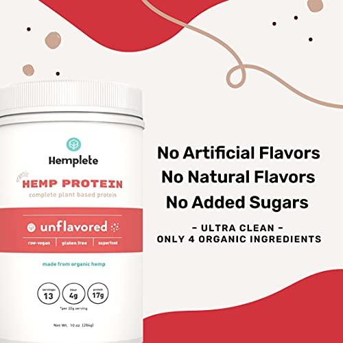 Hemplete Organic, Cold-Processed Hemp Protein Powder, 10oz, Unflavored, 17g Protein Per 22g Serving