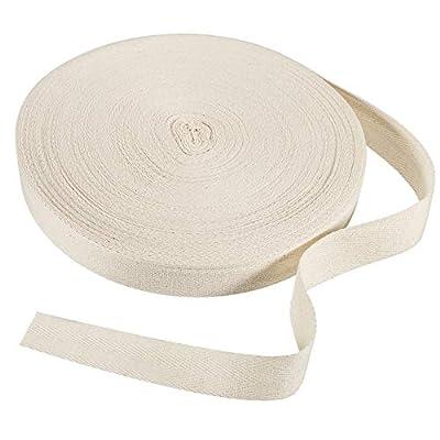 54.7 Yard Herringbone Tape Ribbon Cotton Twill Tape Ribbon Natural Webbing Tape Bias Binding Tape for DIY Crafts Sewing Knit, Beige