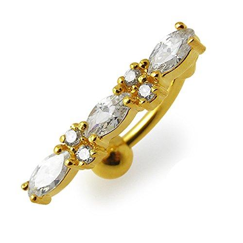 3 micron 18K vergulde witte kristallen stenen Fancy omgekeerde bar sterling zilveren navelpiercing