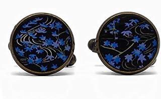 2 Gemelli da polso costume resina foglie acero Giappone albero blu albero nero marrone 14mm regali personalizzati Natale c...