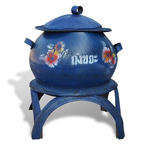 Behälter aus recycelten Autoreifen Pflanzgefäß Müllbehälter Amphore Hochbeet dekorativ (Blau)