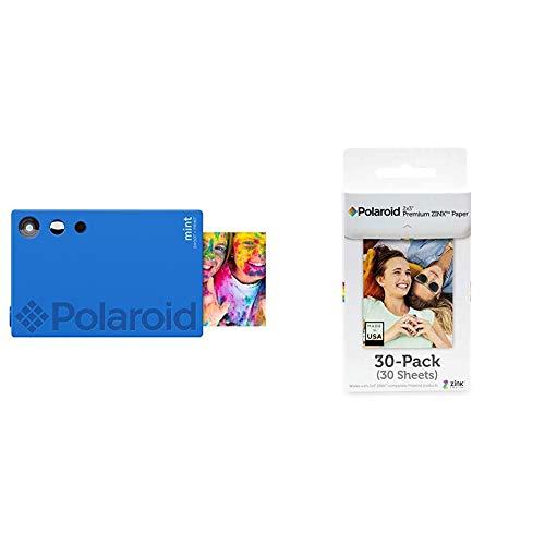 Polaroid Mint Cámara Digital de impresión instantánea con tecnología Zink sin Tinta (Azul) Impresiones en Papel fotográfico Zink 2x3 con Base Adhesiva + Premium Papel, a8, Blanco