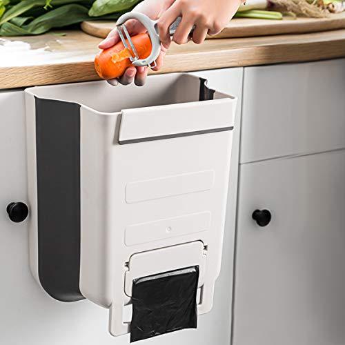 jojobnj, Cubo basura Bote de basura Colgante con Contenedor de bolsa de basura, Bote de basura plegable ecológico, Bote de basura portátil de cocina / baño (9 L lechoso)