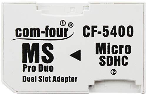 com-four® Dual microSD Adapter - Micro SDHC zu MS Pro Duo Adapter, Speicherkarte microSD zu Memory Stick für PSP, Kamera & Handy, max. 32GB (1 Stück)