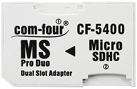 com-four® Adaptador Dual microSD - Adaptador Micro SDHC a MS Pro Duo, Tarjeta de Memoria microSD a Memory Stick para PSP, Cámara & Celular, máx. 32GB (1 Pieza)