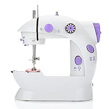 EleLight Portable Sewing Machine, Double Speed Mini Automatic Sewing Machine Thread Electric Crafting Mending Machine with Light and Foot Pedal for Fabric Clothing Home Travel Use