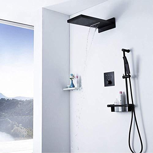 BJLWTQ Full Copper Dusche, Verdeckte Schwarzkupfer Temperiergeräte-Regen-Dusche Wasserfall Regal mit Kupfer Handbrause Schöne praktische Duschkopf,
