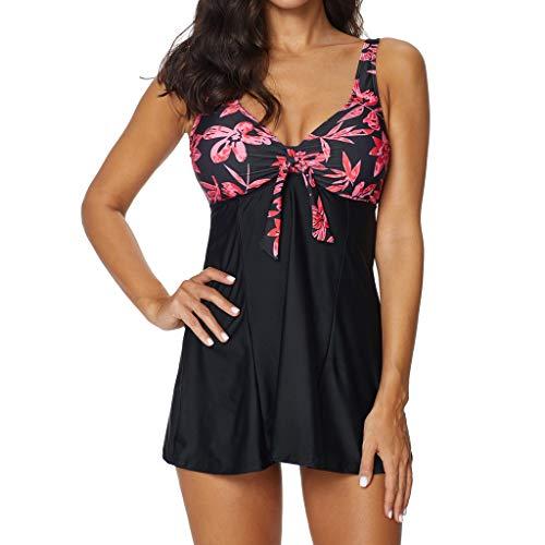 VECDY Bikini Damen Set Frauen Sexy Tankini Sets mit Shorts Damen Bikini Set Bademode Push-Up Elegant Kleiden Badehose Camisole Pullover Bluse