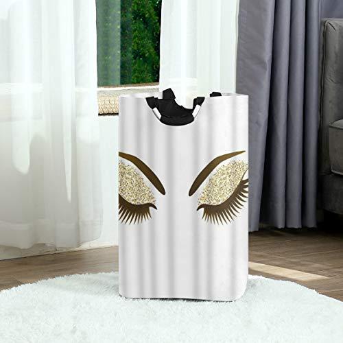ZOANEN Wäschesack,Frau Auge lange Wimpern Make-up Golden Glitters Lidschatten,Großer faltbarer...