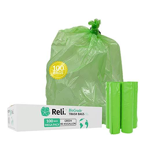 Reli. Biodegradable Trash Bags 40-45 Gallon (100 Count) Eco Friendly Trash Bags 30 Gal-39 Gal Compatible, Green Trash Bags, Biodegradable Under Certain Conditions (See Product Description)