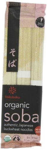 Hakubaku Organic Soba, Authentic Japanese Buckwheat Noodles, (no salt added) 9.5-Ounce (Pack of 8)