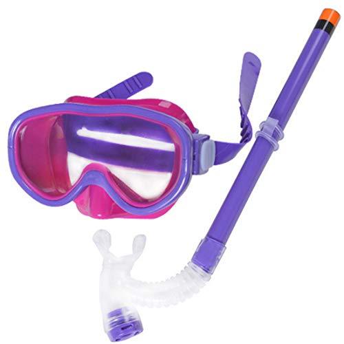 GJNWRQCY Kinder Kinder Schnorchel-Set Schwimmbrille halbtrocken Schnorchel Ausrüstung für Jungen und Mädchen Junior Schnorchelausrüstung Alter 5,Lila